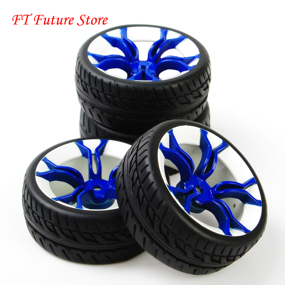 4PCS 1:10 On Road Racing Rubber Tyre Wheel Rim Set For HPI HSP 1/10 RC Car Flat Racing On Road Car Model Accessories And Parts