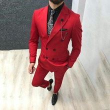 Custom Red Men Suits For Wedding Prom Groom Tuxedos Bridegroom Wear Slim Fit Man Blazers 2piece Coat Pants Party