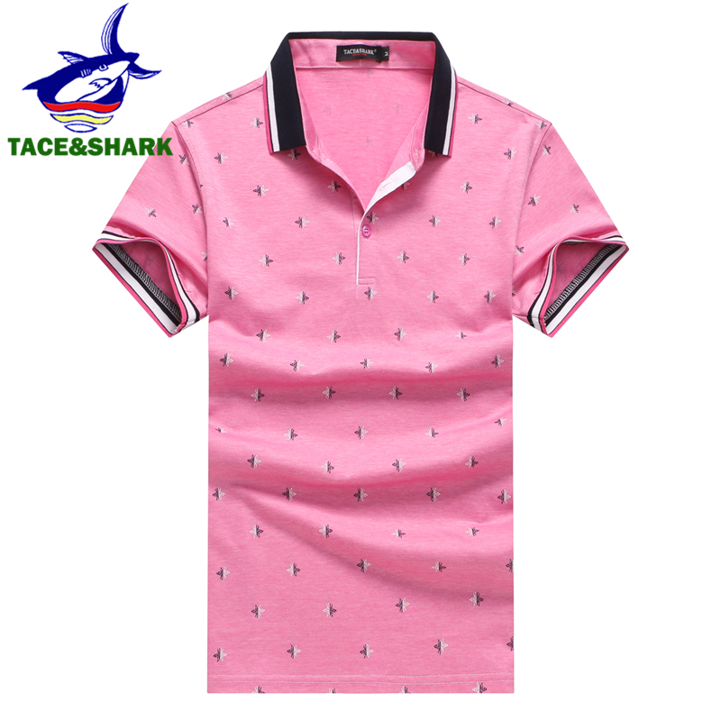 TACE&SHARK Brand Trend   Polo   Homme Fashion Casual Stripe Embroidery Shirts Shark Slim Lapel Camisa   Polos   Summer Men Clothing