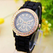 Hot Relogio Feminino Fashion Women Watch Analog Quartz Wrist Watch Jelly Golden Crystal Silicone Watch Women's Clock Gifts 2017