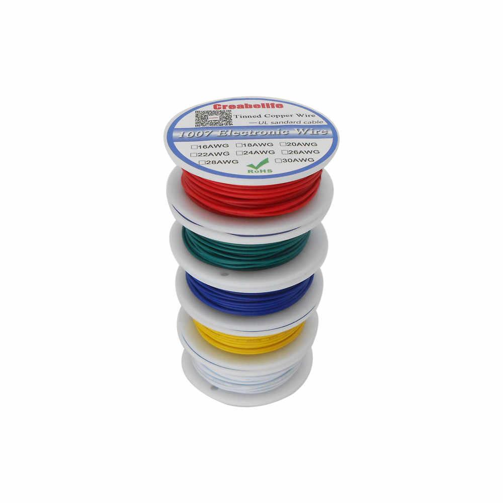 Fil électrique UL 1007 30AWG 10 couleurs 10 m/lot   Ligne de câble en cuivre chromé PCB RoHS Certification UL, câble isolé