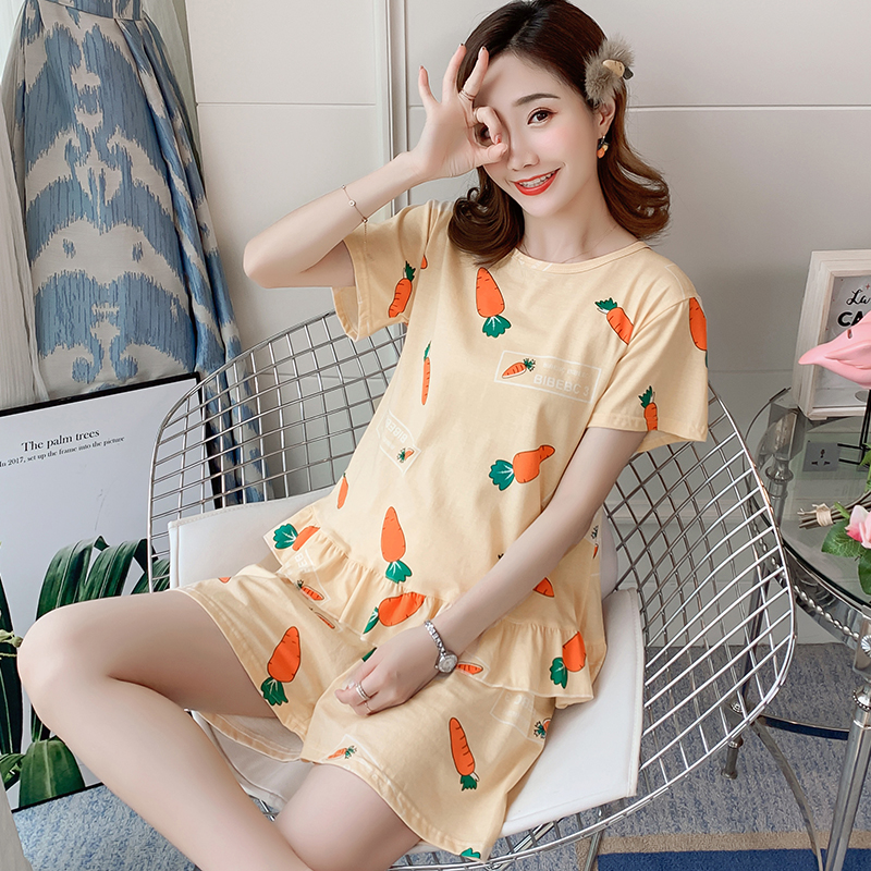 summer   Pajama     Set   short Sleeve Thin cotton carrot Printed Cute Loose Sleepwear Girl pijama Mujer Leisure Nightgown Women   pajamas