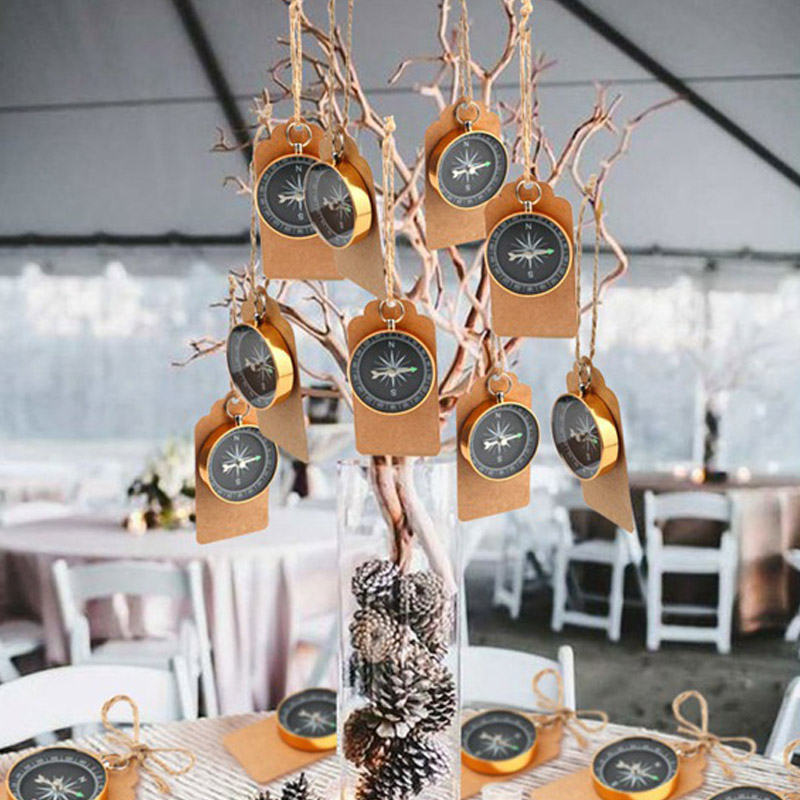 10Pcs Guests Compass Travel Tags Labels Wedding Souvenirs Metal Gift Themed Party Favors Birthday Anniversary Kids