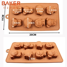 DIY tools Silicone  Mold 8 animals chocolate mold lion hippo bear cookies molds SICM-008-18