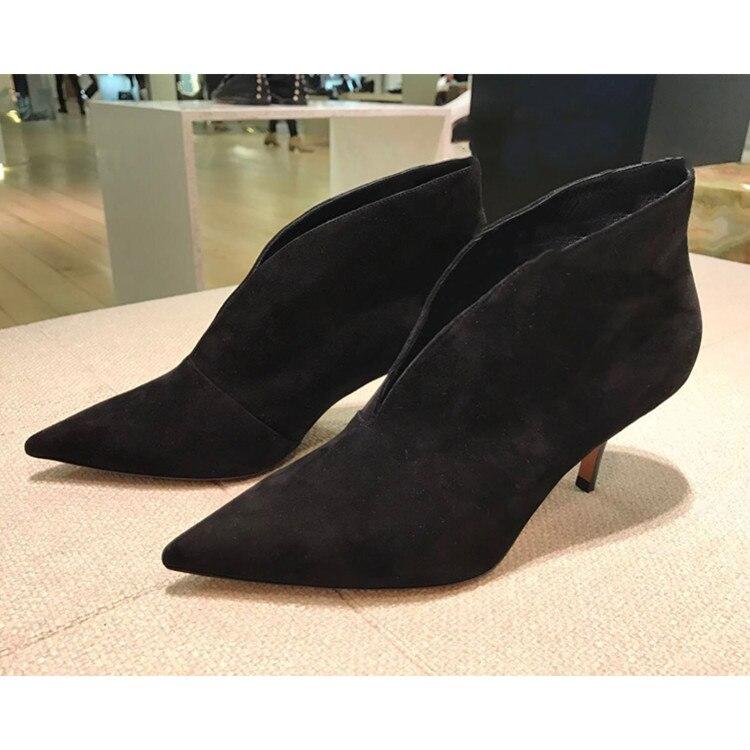 2018 S'enfilent Cuir À as Avant As Pompes V Nouveauté En Grandes Bottes Femme Chaussures Cheville Hauts Botines Souple cut Talons Pic Mode Ventes Pic Mujer qWOzntTg