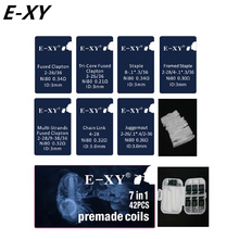 E-XY 7 in 1 Premade Coils Box Kit Fused Clapton Juggernaut Prebuilt NI80 coil Wires Cottons for E cig RDA tank