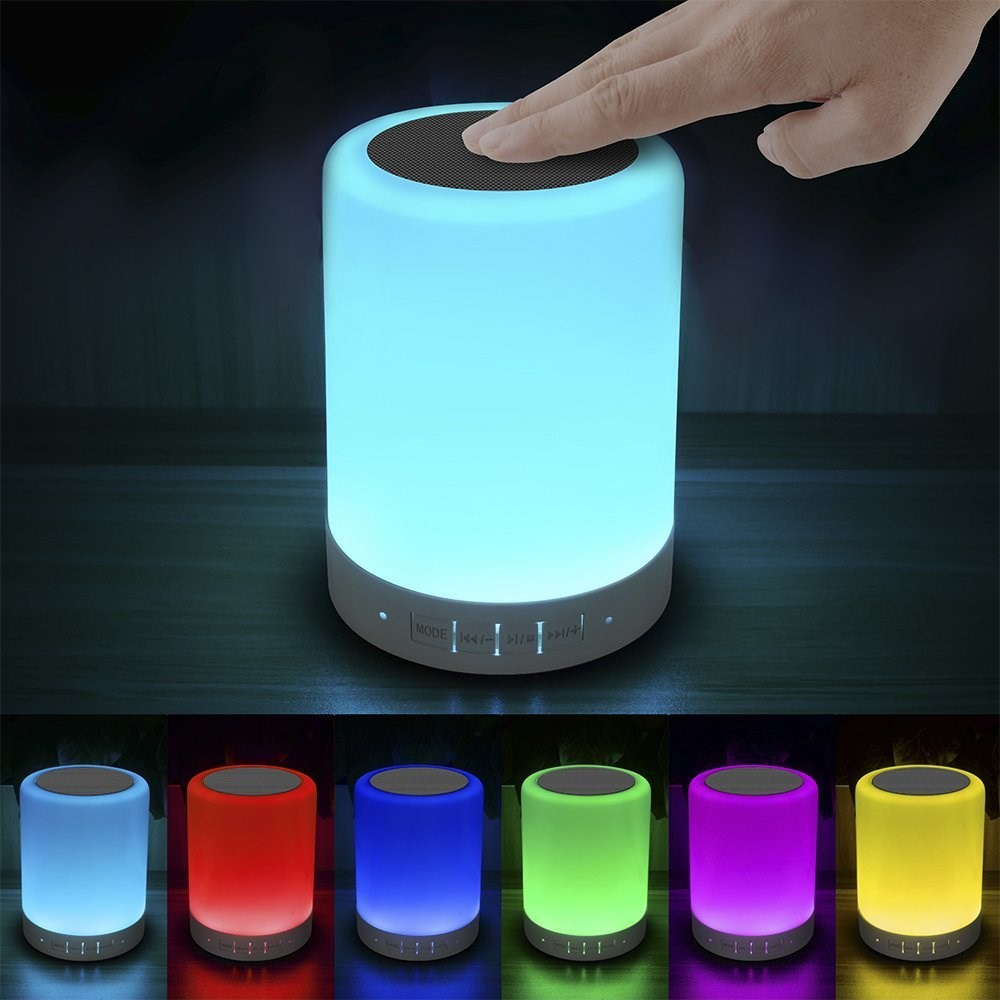 Elecstars Touch Bedside Lamp With Bluetooth Speaker Dimmable Color Night Light Outdoor Table Lamp With Smart Touch Control,