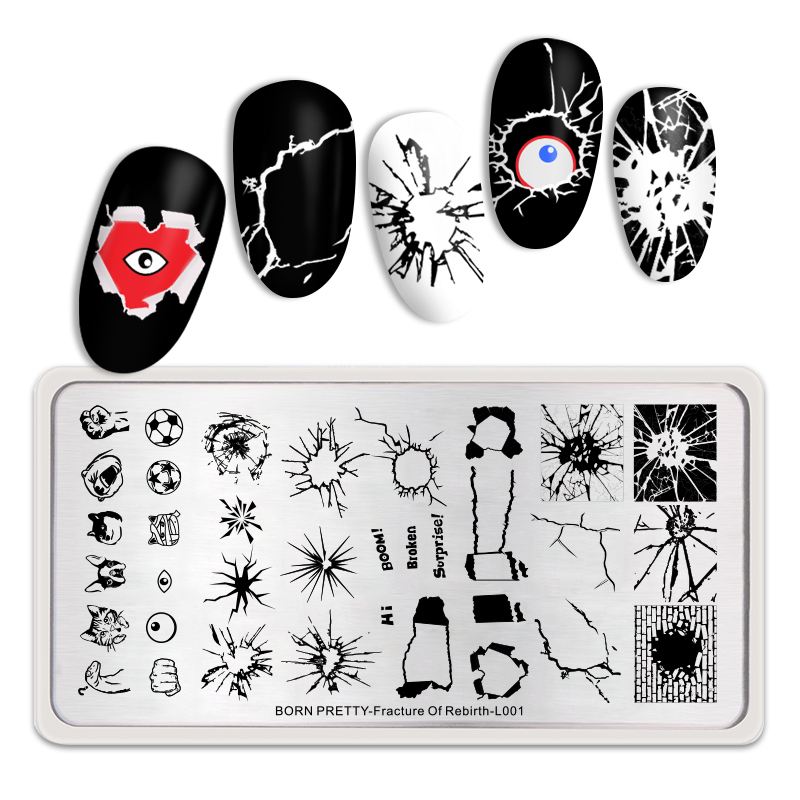 <font><b>BORN</b></font> <font><b>PRETTY</b></font> Stamping Plates Rectangle Nail Art Template Tool Decompress Theme Nail Stamp Image Plate Fracture Of Rebirth <font><b>L001</b></font> image