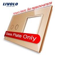 Free Shipping Livolo Luxury Golden Pearl Crystal Glass 151mm 80mm EU Standard 2Gang 1 Frame Glass
