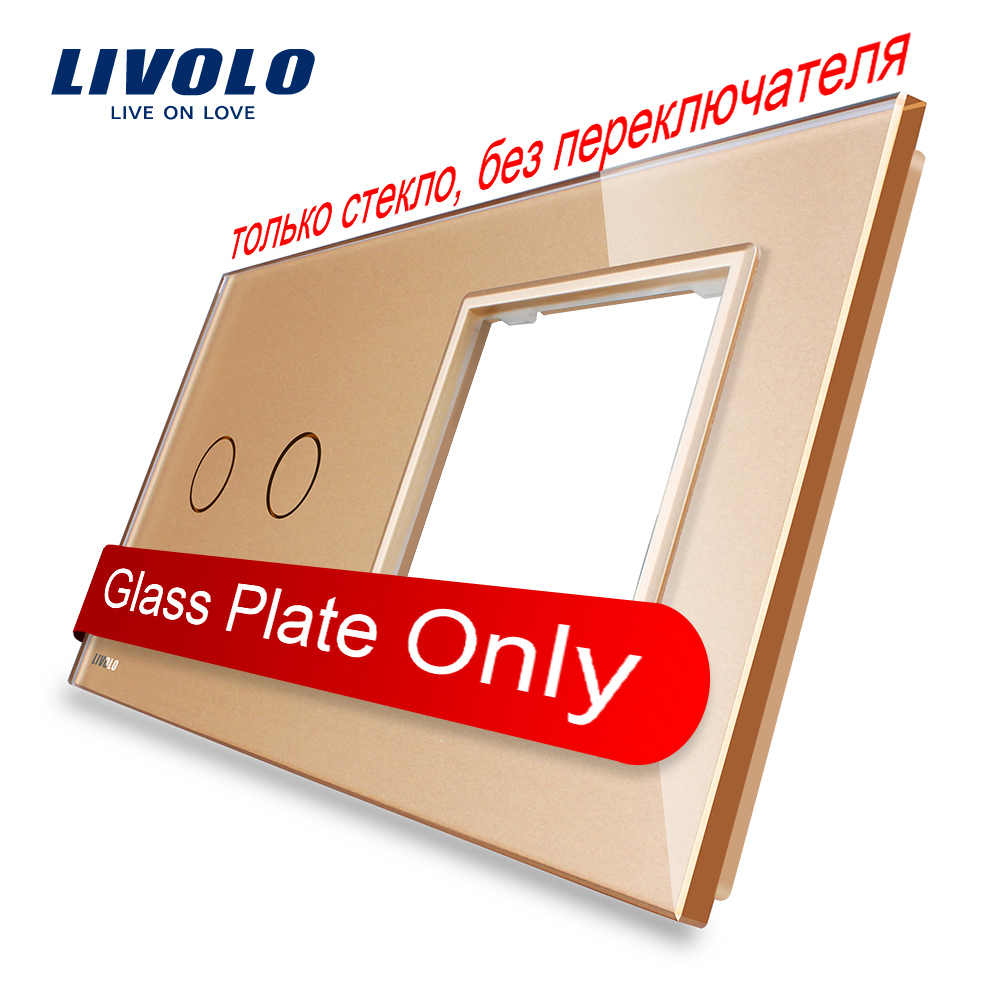 Free Shipping, Livolo Luxury Golden Pearl Crystal Glass, 151mm*80mm, EU standard, 2Gang &1 Frame Glass Panel, VL-C7-C2/SR-13