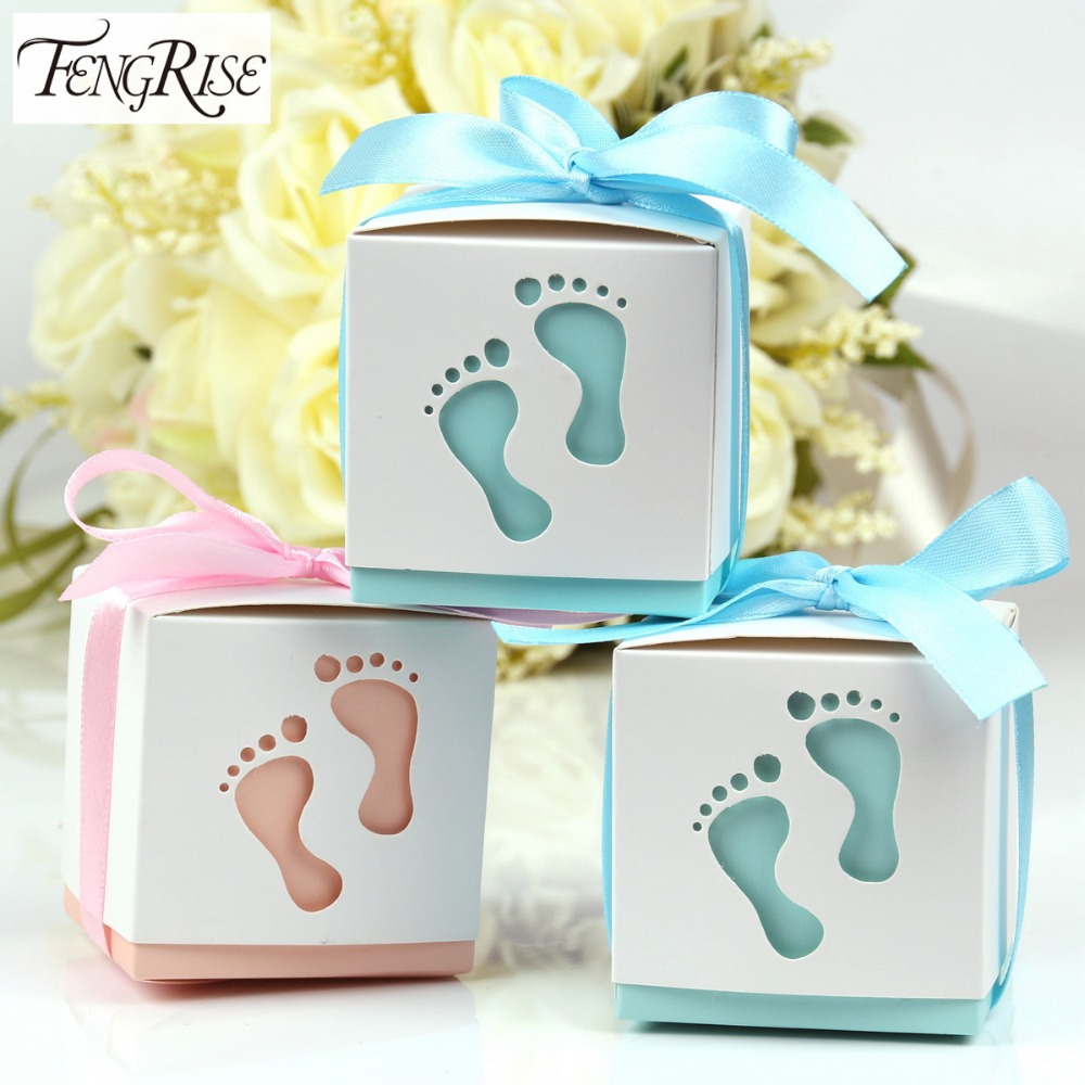 FENGRISE 10pcs Baby Footprint Laser Cut Out Candy Box Baby