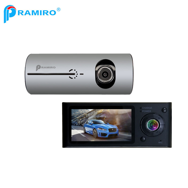 PRAMIRO Vehicle-mounted Car DVR with double cameras Front 140 degree with gps logger synchronous recording X3000 R300 dash cam a9 3 0inch 140 degree 1626 car dvr dash cam gold