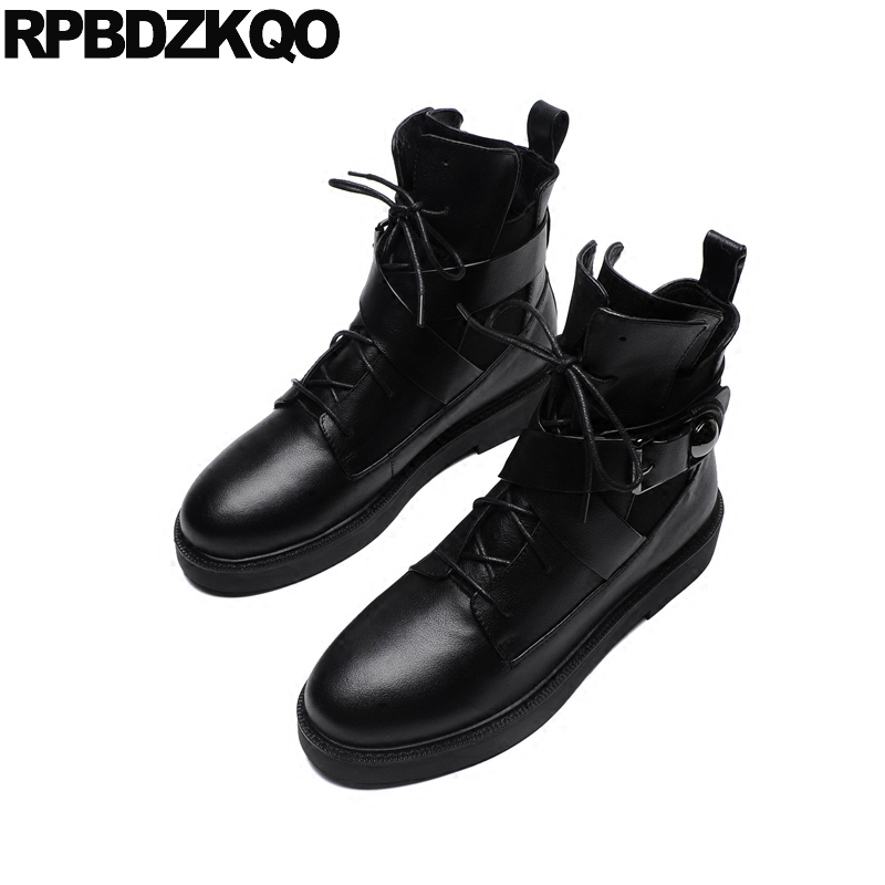 Round Toe Ankle Lace Up Metal Winter Autumn Booties Black Shoes Short Ladies Front Casual Boots Military 2017 New Chinese fall flat black waterproof 2017 women shoes retro front lace up casual ankle boots autumn patent leather chunky booties vintage