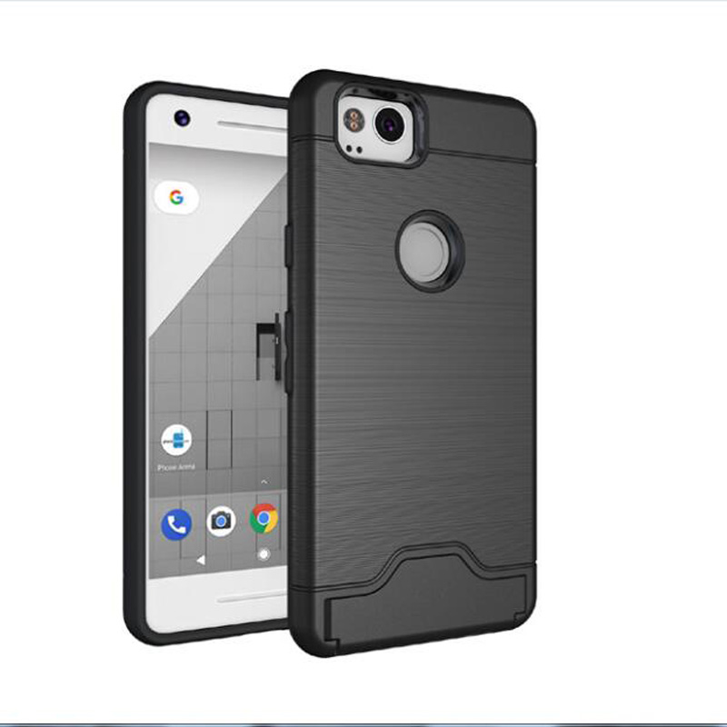 For Google Pixel XL 2 PC+ Silicone Kickstand Credit Card Slot Anti Shock Brushed Case For Google Pixel XL 2 Cover Case