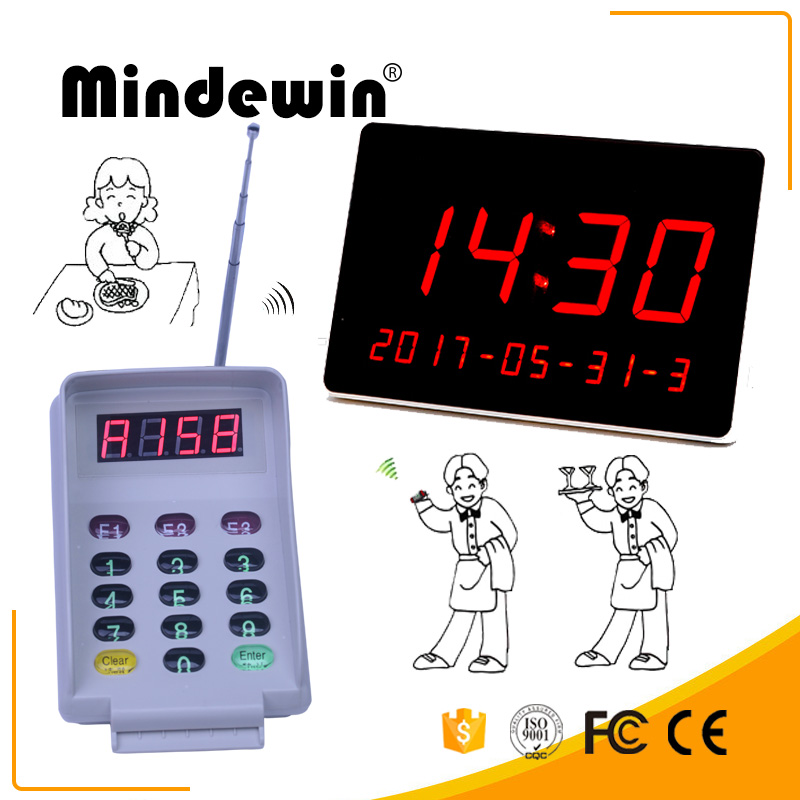 MIndewin 2017 Restaurant Wireless Calling System Multi-function Keyboard M-T-2 And Smart Big LED Display  Electronic NumberM-R-1 wireless service call bell system popular in restaurant ce passed 433 92mhz full equipment watch pager 1 watch 7 call button