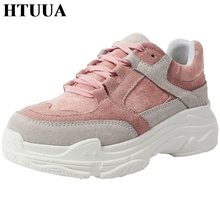 HTUUA New Spring Sneakers Women High Heel Platform Shoes Creepers Plateforme Casual Shoes Grey Pink Lace Up Flats Shoes SX2241