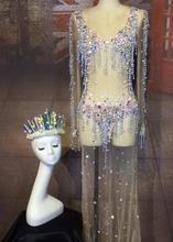 Sexy Mermaid Sequins Dress Women Crystals Outfit Party Costumes Stage Rhinestones Skinny Stretch Prom Wear