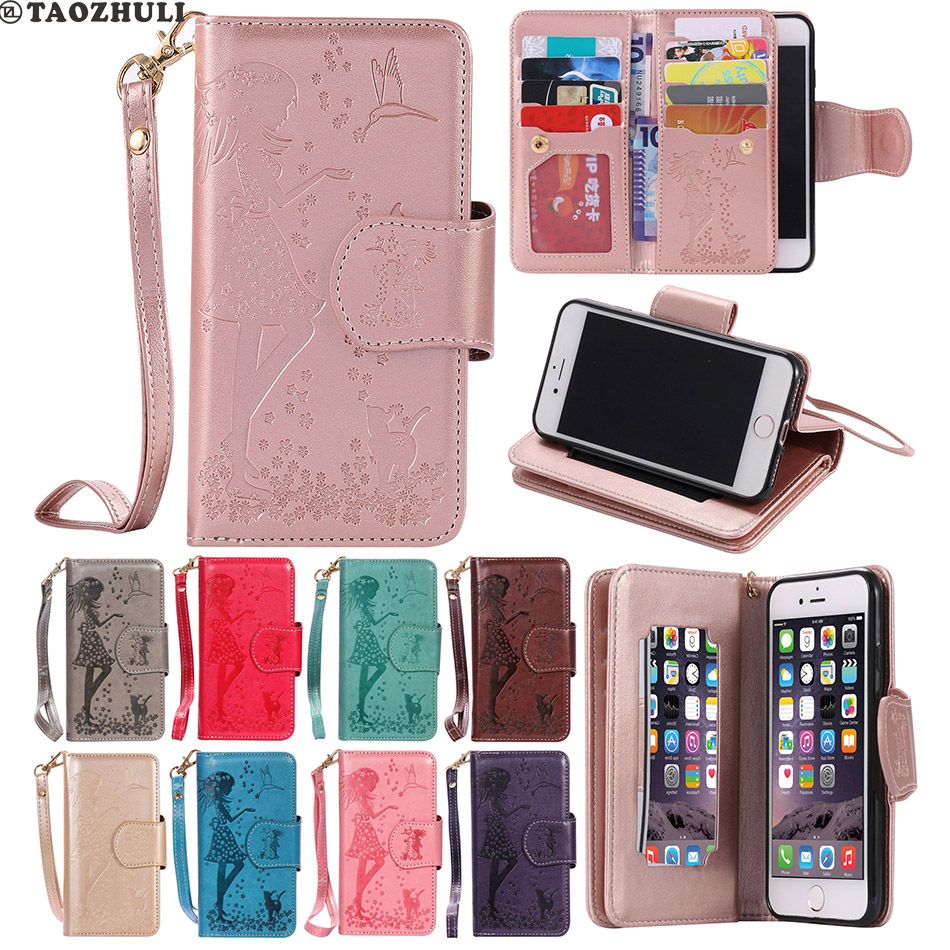 9Card Frame Mirror Fundas Cover For Apple iPhone 5 5S SE 6 6S Plus 7 7 Plus Embossed Girl Stand Flip Leather Bag KT
