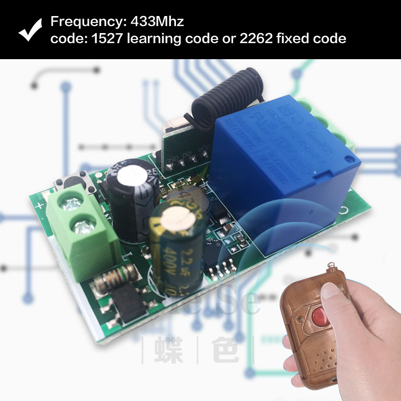 86 Wall Panel 433Mhz Wireless Remote Transmitter AC 220V 1 Channel RF Switch For Home Living Room Bedroom Lighting/Bulb Switch