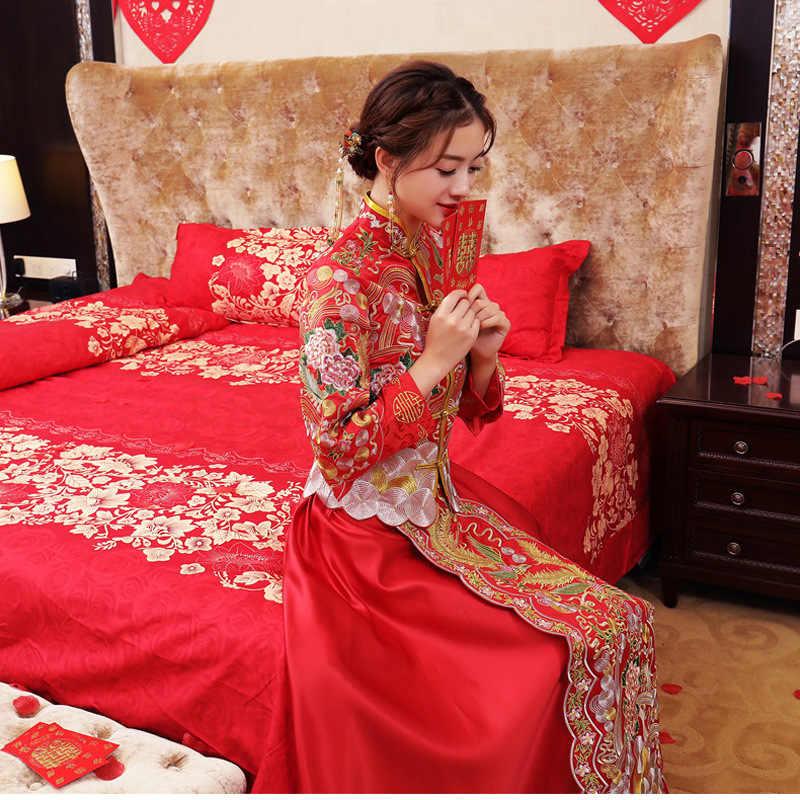 נשים אדום מזרחי פניקס Qipao הכלה חתונה שמלת שמלת רקמה בסגנון הסיני Cheongsam טוסט בגדי חליפת נישואי מתנה