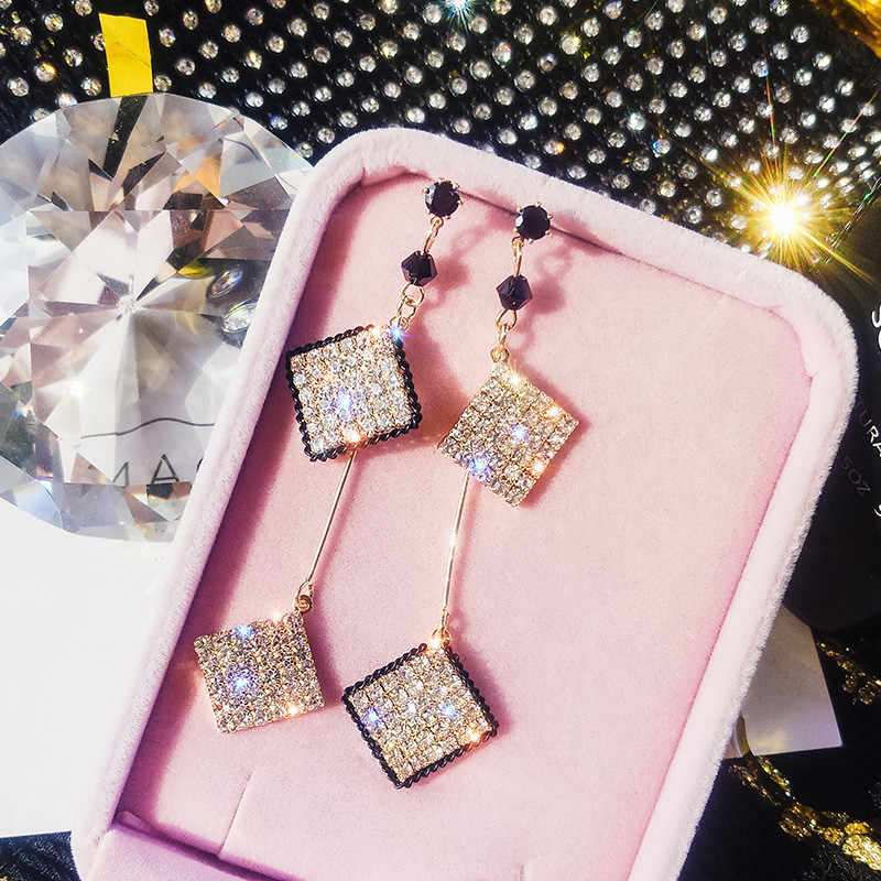 FYUAN Long Tassel Crystal Rhinestone Drop Earring for Women Exquisite Gold Color Square Dangle Earrings Party Jewelry Gifts