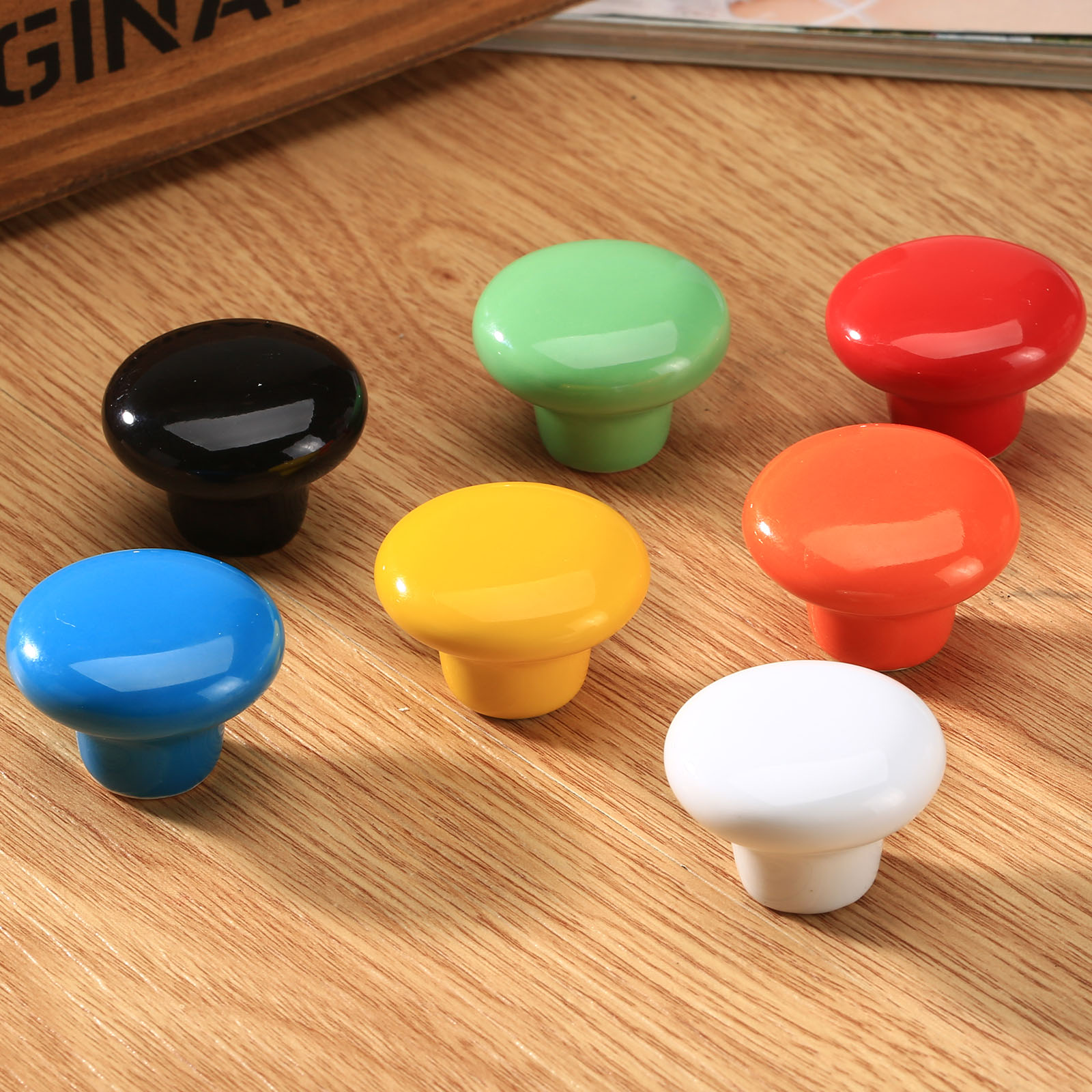 Candy Color Ceramic Round Pull Handle Cabinet Drawer Knob Home Kitchen Decor 1pc