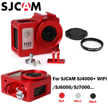 SJCAM SJ4000 Case Metal Alloy housing cage Shell + Len UV filter for SJCAM sj4000 sj7000 sj6000 sj 4000 wifi camera accessories action camera sj 4000 accessories soft silicone protective case lens cover soft rubber shell for sjcam sj4000wifi sj4000