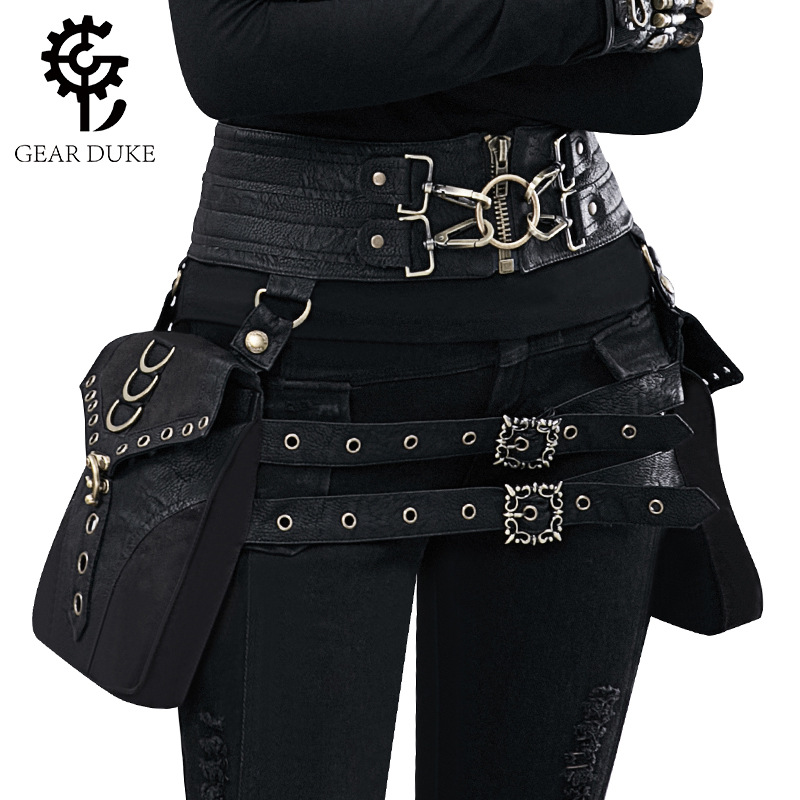 Bag, Waist, Gothic, Bags, Leather, Rock