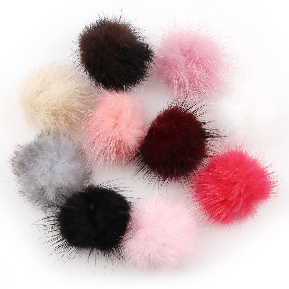 5Pcs 10 Colors 4cm Mink Pompoms Fur Balls For Sewing On Knitted Keychain Scarf Shoes Hats Fur DIY Crafts Hair Accessories