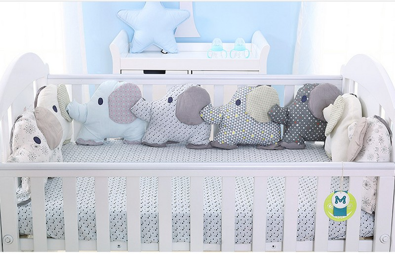 6PCS/Set Cotton Animal Elephant Baby Crib Bumpers Soft Infant Bed Around Protection Flexible Combination backrest cushion BB Toy