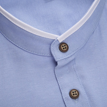 Fashion Clothing Men's Short Sleeve Mandarin Collar Slim Fit Shirt