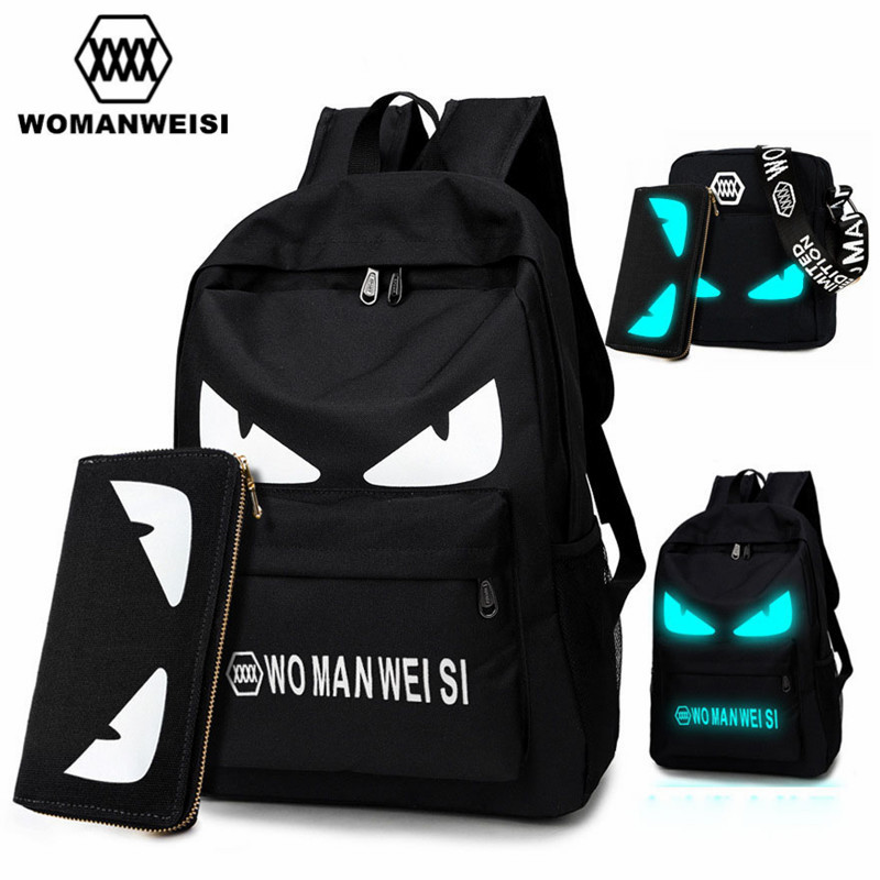 2017 Fashion Brand Women Male Anime Schoolbag For Teenage Girls Boy Popular Computer Laptop Backpack Female Men Luminous Bagpack unme children schoolbag for grade 1 3 girls backpack waterproof leather light for boy