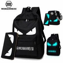 2017 Fashion Brand Women Male Anime Schoolbag For Teenage Girls Boy Popular Computer Laptop Backpack Female Men Luminous Bagpack