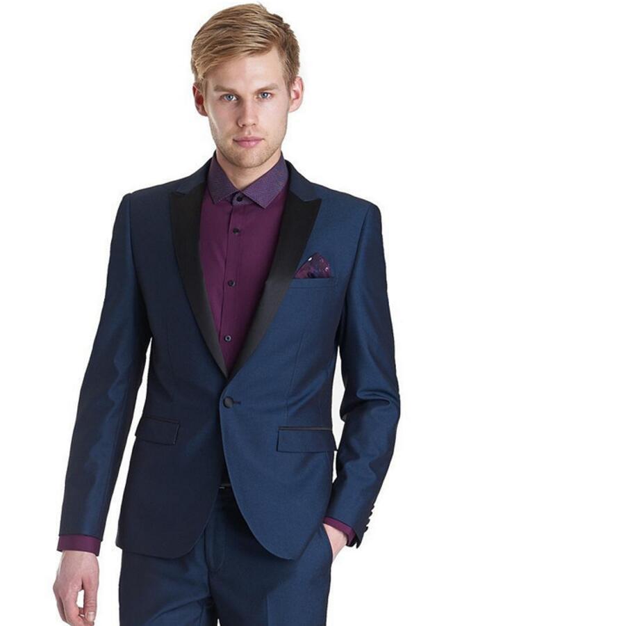 Custom Made Black Lapel Royal Blue Jacket Single Breasted Men Suits Wedding Suits Groom Prom Tuxedo (Jacket+ Pants)