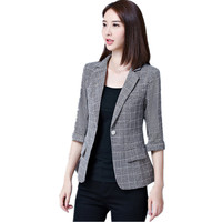 2019 Summer Plaid Blazers and Jackets Elegant Lady short Single Button Three Quarter Sleeves Casual Work Wear Blazers Fenimino