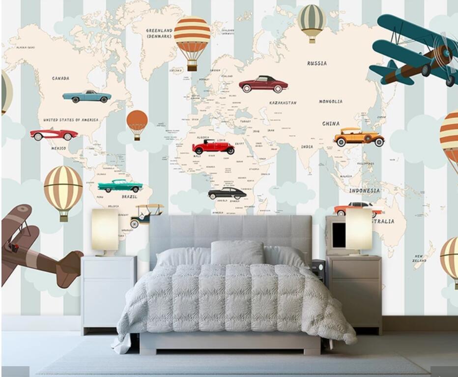 3d Carton Air Hot Balloons Airplane World Map Wallpaper Mural For