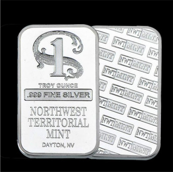 Quality Silver Plated Metal Bar Northwest Territorial Mint Bullion Bar Silver Coin for Home Collection Souvenir Drop Shiping