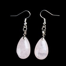 Opal quartz Snowflake Water Drop Dangle Hook Earrings Silver Point Crystal Healing Chakra Reiki Stone Free Pouch