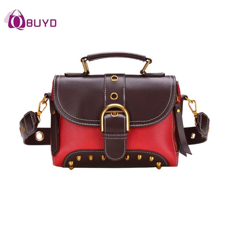 2018 New Handbags Womens Shoulder Bag Rivets Wide Straps Women Handbags Top-Handle Bags Ladies Messenger Bag Totes Sac A Main