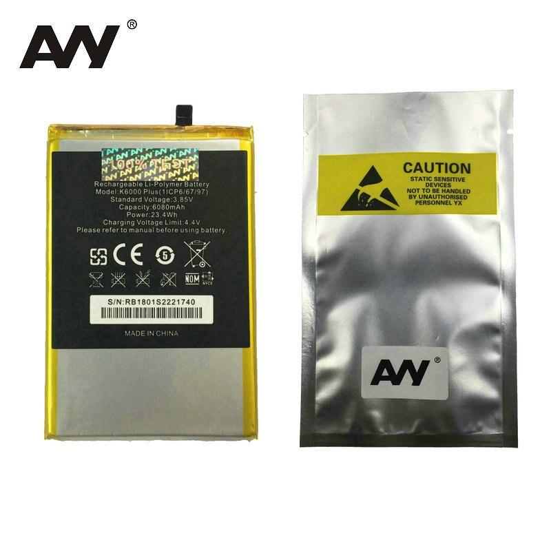 AVY Batterie De Remplacement Pour OUKITEL K6000 plus K6000plus Mobile téléphone Rechargeable Li-polymère Batteries 6080 mAh En stock