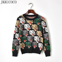 JKKUCOCO 2018 Europe America Hot Knitted Wolf Head Long Sleeve Women Sweater Warm Well Winter Sweaters Women Pullover sweater