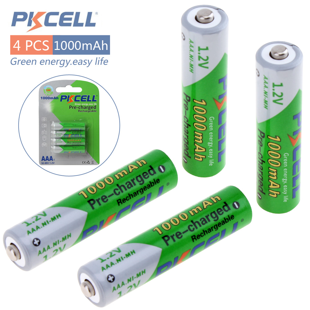 4pcs! Pkcell 1.2V <font><b>1000mAh</b></font> Ni-Mh <font><b>AAA</b></font> <font><b>Rechargeable</b></font> Battery Real High Capacity LSD Pre-charged NiMh Batteries Set With 1200 Cycle image