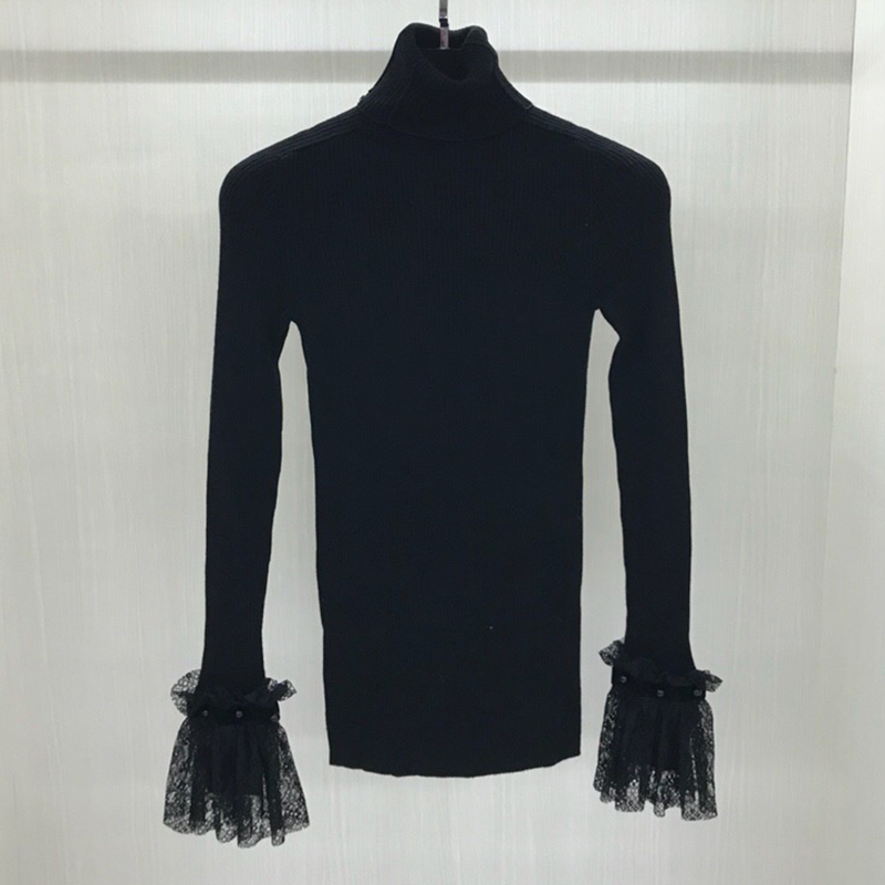 Черная блузка лоскутное кружево с длинным рукавом для женщин Повседневное осень 2018 г. тонкий водолазка рубашки для мальчико