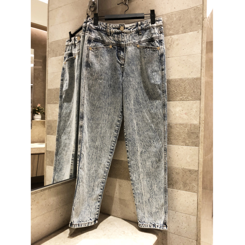 Women s Low waist casual pants Washed old gray Denim Button decoration Pants Retro Trousers