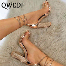 Big size 34-43 Women Heeled Sandals Bandage Rhinestone Ankle Strap Pumps Super High Heels 11 CM Square Heels Lady Shoes MJ-20