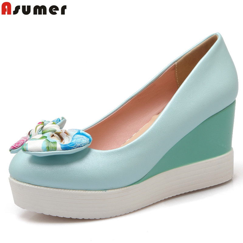 ASUMER Sweet wedges pumps bowtie round toe soft pu leather platform women pumps shoes woman spring summer 2016 size 4-42 2016 new pumps ol style thick high heels women shoes with bowtie pu leather shoes woman for spring 3 colors size 35 39 xwd717