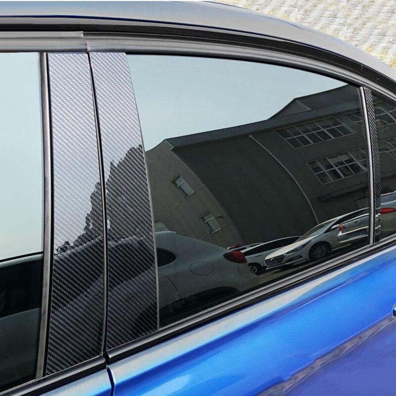 Pour Mercedes w204 C classe E GLA GLC fibre de carbone voiture fenêtre voiture porte autocollants garniture emblème décalque couvre voiture style accessoires