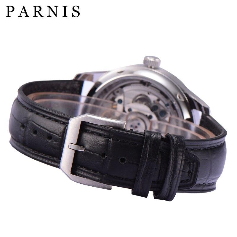 2019 nowy PARNIS 43mm mechaniczny automatyczny zegarek męski Diver niebieski ręce męskie zegarki Top marka luksusowe horloges mannen erkek saat w Zegarki mechaniczne od Zegarki na  Grupa 3