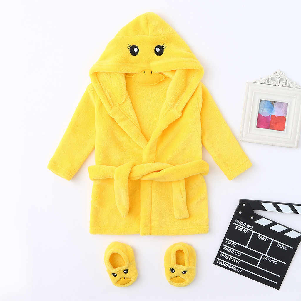 Cute Yellow Duck Infant Baby Boys Girls Cartoon Flannel Bathrobes Hoodie Sleepwear+Footwear Outfits Soft Cashmere Clothes 2019