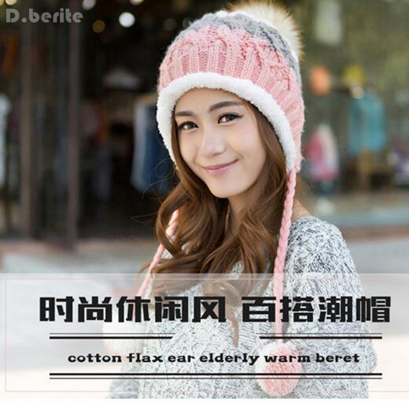 Fashion Winter Hat For Woman Super Warm Trend Add Wool Beanie Knitted Cap Hat Lady Cute Plush Knitted Cap Earmuffs Cap KYY8097 wool felt cowboy hat stetson black 50cm